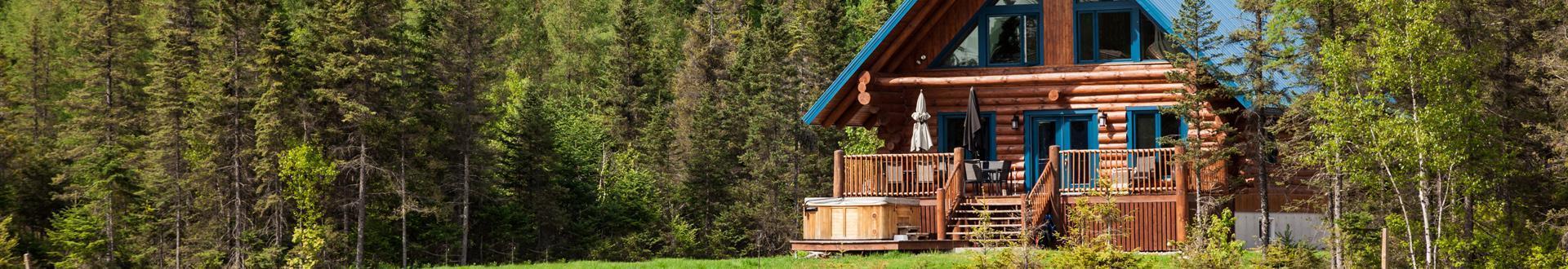 drewniany domek w lesie, weranda, banner kontakt